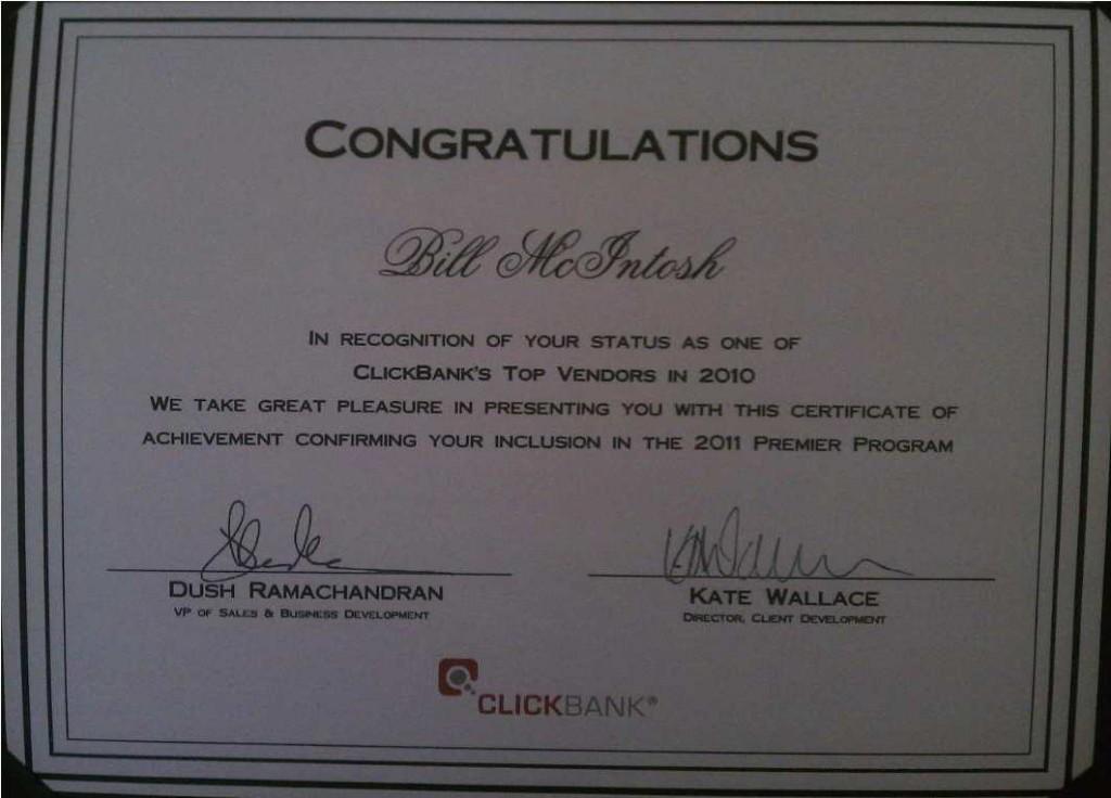 Clickbank Premier Vendor 2011
