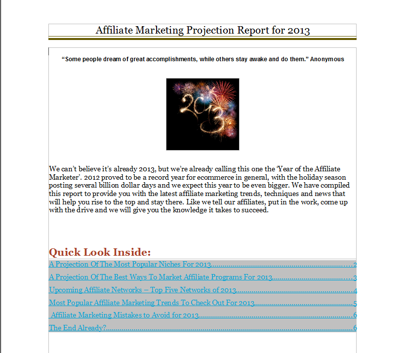 affiliate internet marketing